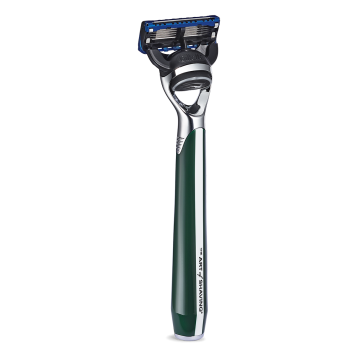 Art of Shaving Morris Park Collection Signal Green Razor. Also available in Blue and Red $60 www.artofshaving.com