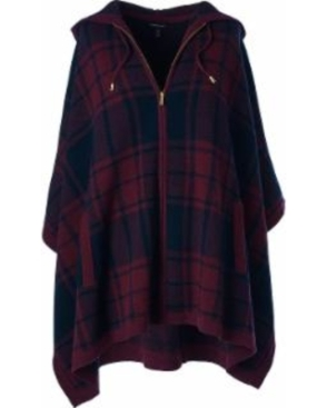 lands-end-womens-wool-cashmere-poncho-sweater-burgundy-plaid