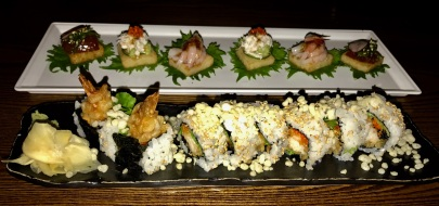 On Top: Kani, Sweet Shrimp, Ahi Poke Canape On Bottom: Spicy Shrimp Tempura Roll