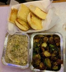 Roasted Brussel Sprouts, Garlic Fried Rice, Garlic Bread